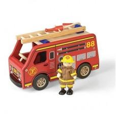 Brandbil med brandman