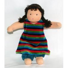 Waldorfdocka - flicka, 27 cm, brunt hår