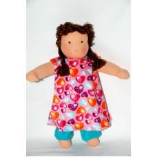 Waldorfdocka - flicka, 34 cm, brunt hår