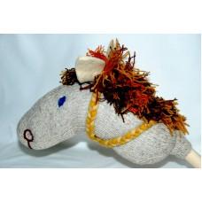 Käpphäst - ullstrumpa, grå med brun-röd-gul man