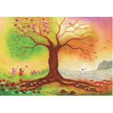 Vykort - BeS1017 - Träd, fyra årstider