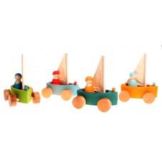 Segelbåt på hjul, 4 st små