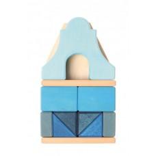 Gavelhus - blått - litet