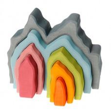 Hus - bågar, 7 delar, blågrå