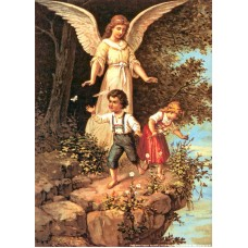 Poster - He1345 - Skyddsängel m två barn