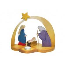 Julkrubba med ljus och stjärna, gul båge