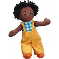 Docka - pojke, mörkbrun/svart hår
