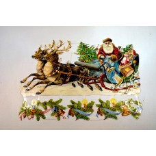 Bokmärke - Jultomte med släde
