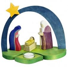 Julkrubba med ljus och stjärna, blå båge