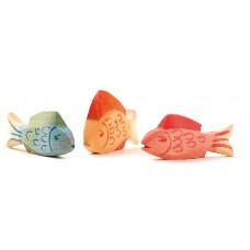 Fiskar, 3 st - blå, gul och röd