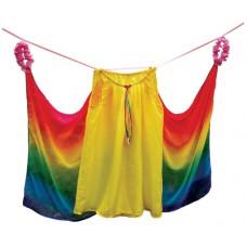 Sidendress, gul/regnbåge