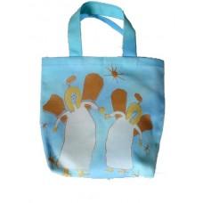 Barnväska - två änglar, blå