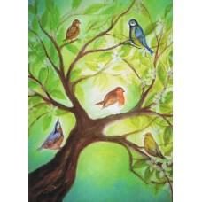 Vykort - BeD1007 - Fåglar i träd