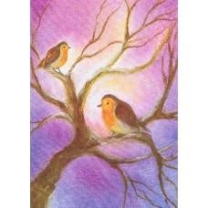 Vykort - BeD1008 - Två rödhakar i träd