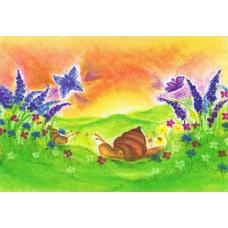 Vykort - BeD1009 - Sniglar och blommor
