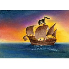Vykort - BeTh1003 - Piratskepp
