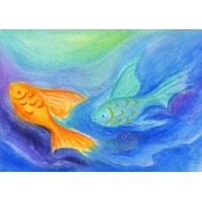Vykort - BeW1009- Två fiskar