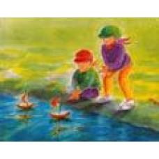 Vykort - M694 - Barn vid bäcken