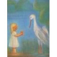 Vykort - M718 - Barn med stork