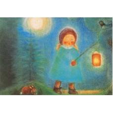 Vykort - M960 - Barn med lanterna