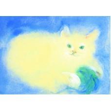 Vykort - R3076 - Lekande katt
