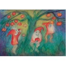 Vykort - R3553 - Pysslingar i äppelträd