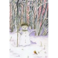 Vykort - R3912 - Snögubbe i vinterskog