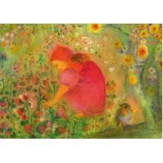 Vykort - R3961 - Flicka plockar blommor