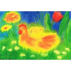 Vykort - R5191 - Höna med kyckling