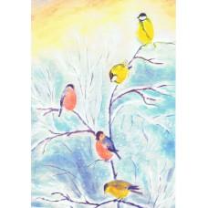 Vykort - R5231 - Vinterfåglar
