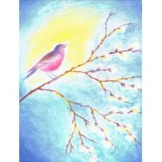 Vykort - R5240 - Fågel på videkvist
