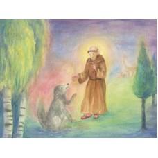 Vykort - R5434 - Fransiskus och hunden