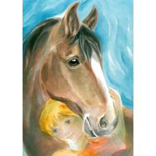 Vykort - Vr38 - Barn med häst
