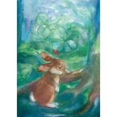 Vykort - Vr40 - Ledsen hare
