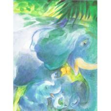 Vykort - W1024 - Elefanter