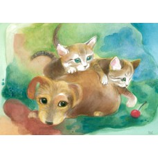 Vykort - W1027 - Valp med kattungar