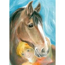 Vykort - W1037 - Barn med häst