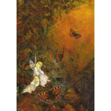 Vykort - W3001 - Älvor och fjärilar