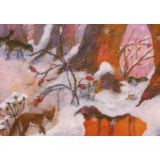Vykort - W3010 - Räv o smådjur i snö