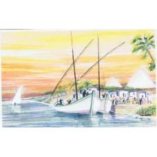 Vykort - W6000 - Båtar på Nilen