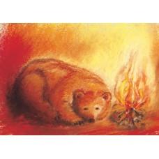 Vykort - MvZ210 - Björn vid elden
