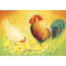 Vykort - MvZ319 - Tupp, höna och kycklingar