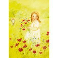 Vykort - MvZ326 - Flicka plockar blommor