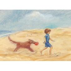 Vykort - MvZ353- Pojke med hund på stranden