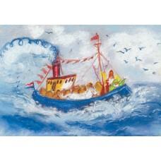 Vykort - MvZ404 - Sankt Nikolaus - Ångbåt med Sankt Nikolaus