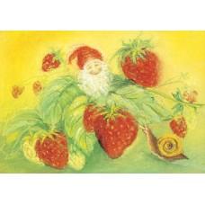Vykort - MvZ412 - Pyssling med jordgubbar och snigel