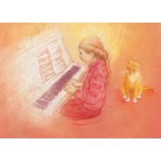 Vykort - MvZ424 - Flicka spelar på piano
