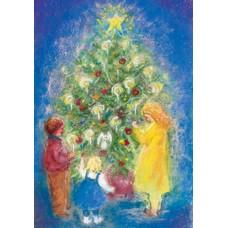 Vykort - MvZ430 - Barn kring julgranen