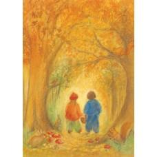 Vykort - MvZ433 - Barn på promenad i höstskog