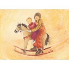 Vykort - MvZ446 - Barn på gunghäst